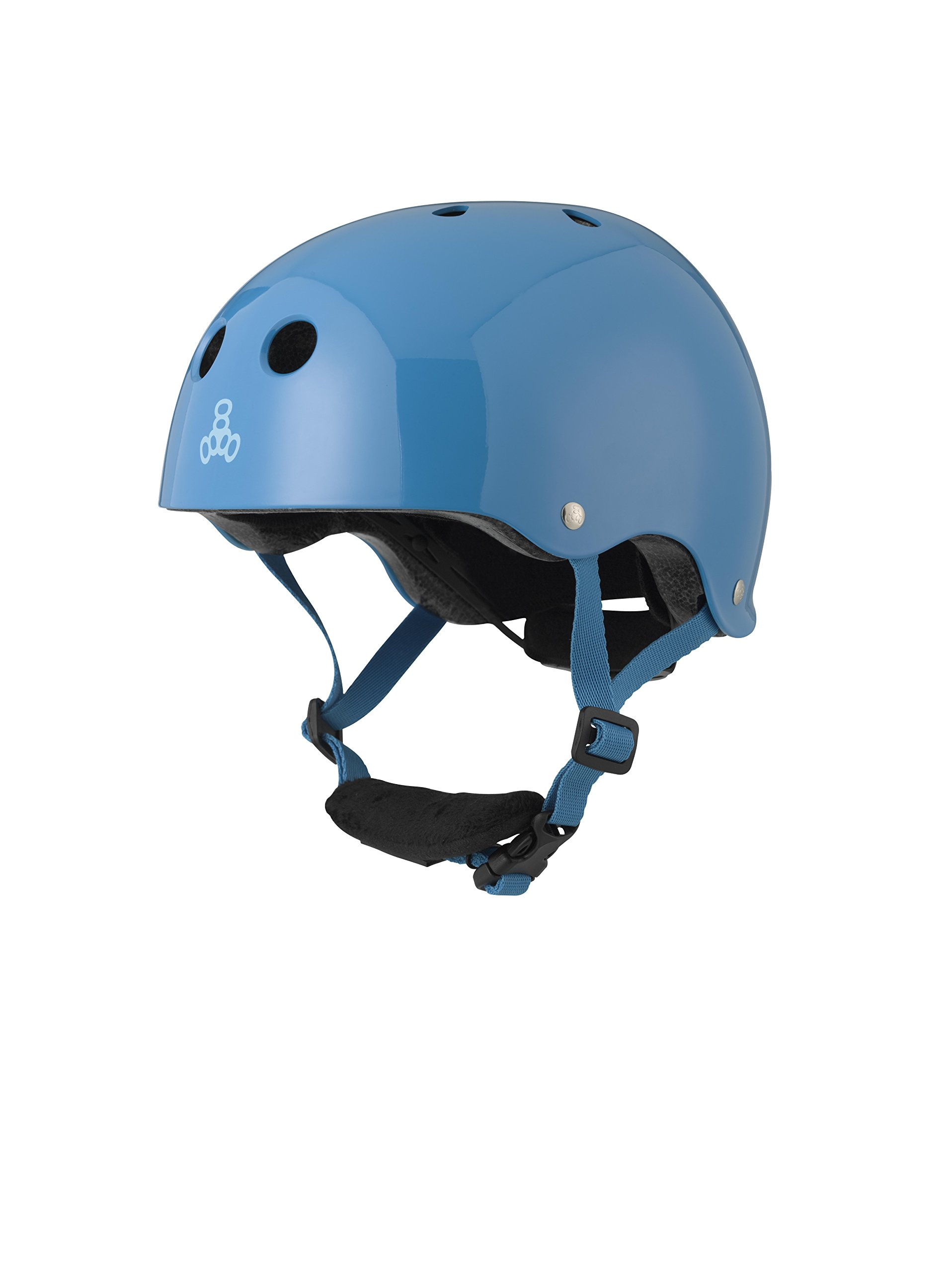 Triple Eight Lil 8 Dual Certified Sweatsaver Kids Skateboard and Bike Helmet with Padded Chin Buckle, Blue Glossy