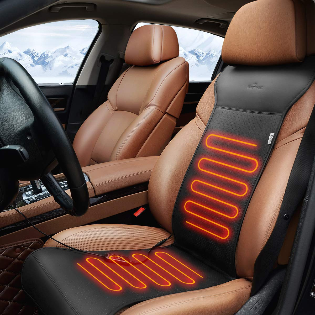 KINGLETING 12-Volt Heated Seat Cover with Intelligent Temperature Controller