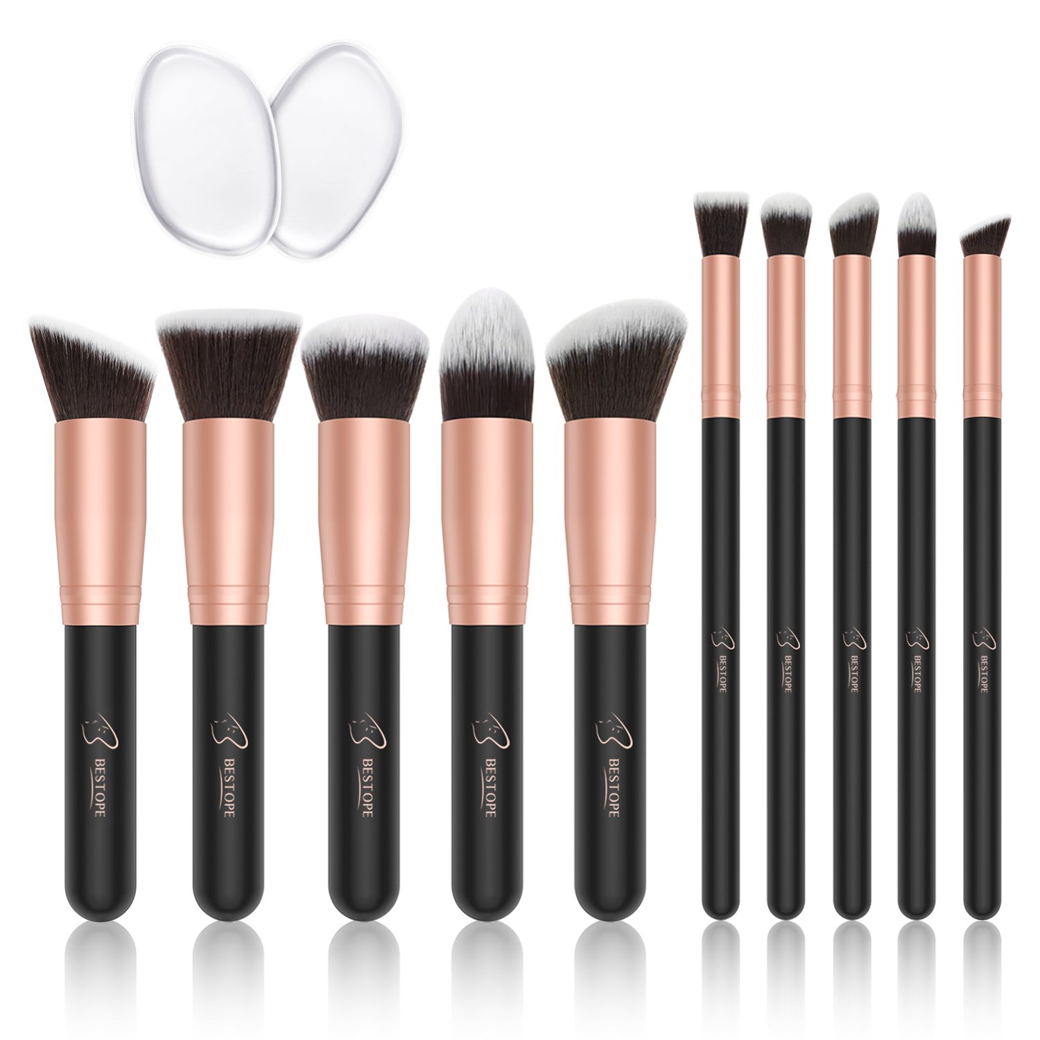 BESTOPE Make-up Pinsel Premium Kosmetik Make-up Pinsel Set Synthetische Kabuki mit 2 Pack Silikon Make-up Schwämme Eyeliner Blush Contour Bürsten für Powder Creme Concealer Pinsel Kit (10 Stücke, Rose Gold)