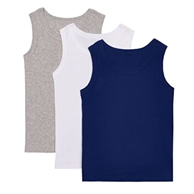 f7ba33835 Debenhams Kids Pack of Three Boys  Blue Cotton Rich Vests Age 7-8 ...