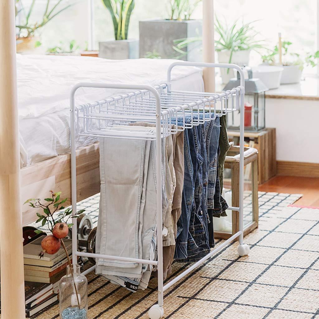 FKKURACK Porte-Serviettes /à tringles Mobile avec Support pour Baguettes et Porte-Manteaux Blanc pour penderie