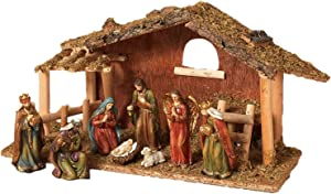 Holy Birth 9-Piece Ceramic Nativity Scene with Mossy Stable