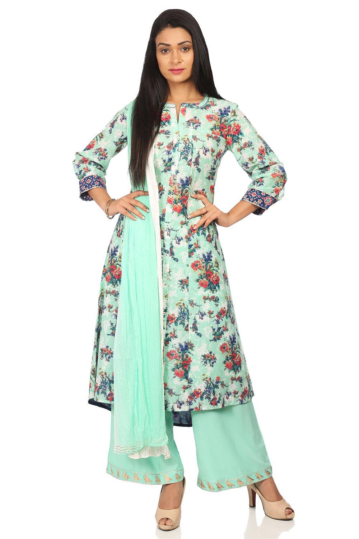 BIBA Women's Sea Green Cotton Salwar Kameez Dupatta Size 38