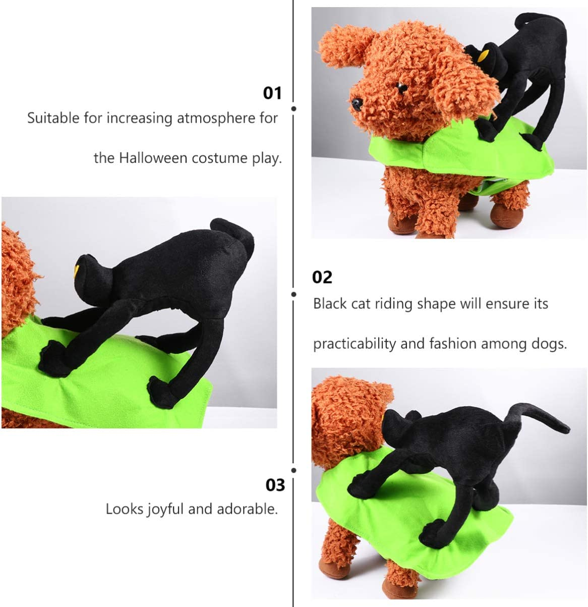 POPETPOP Pet Riding Costume Dog Puppy Black Cat Rider Costume Halloween Cosplay Dress up Costume for Halloween Party Size S