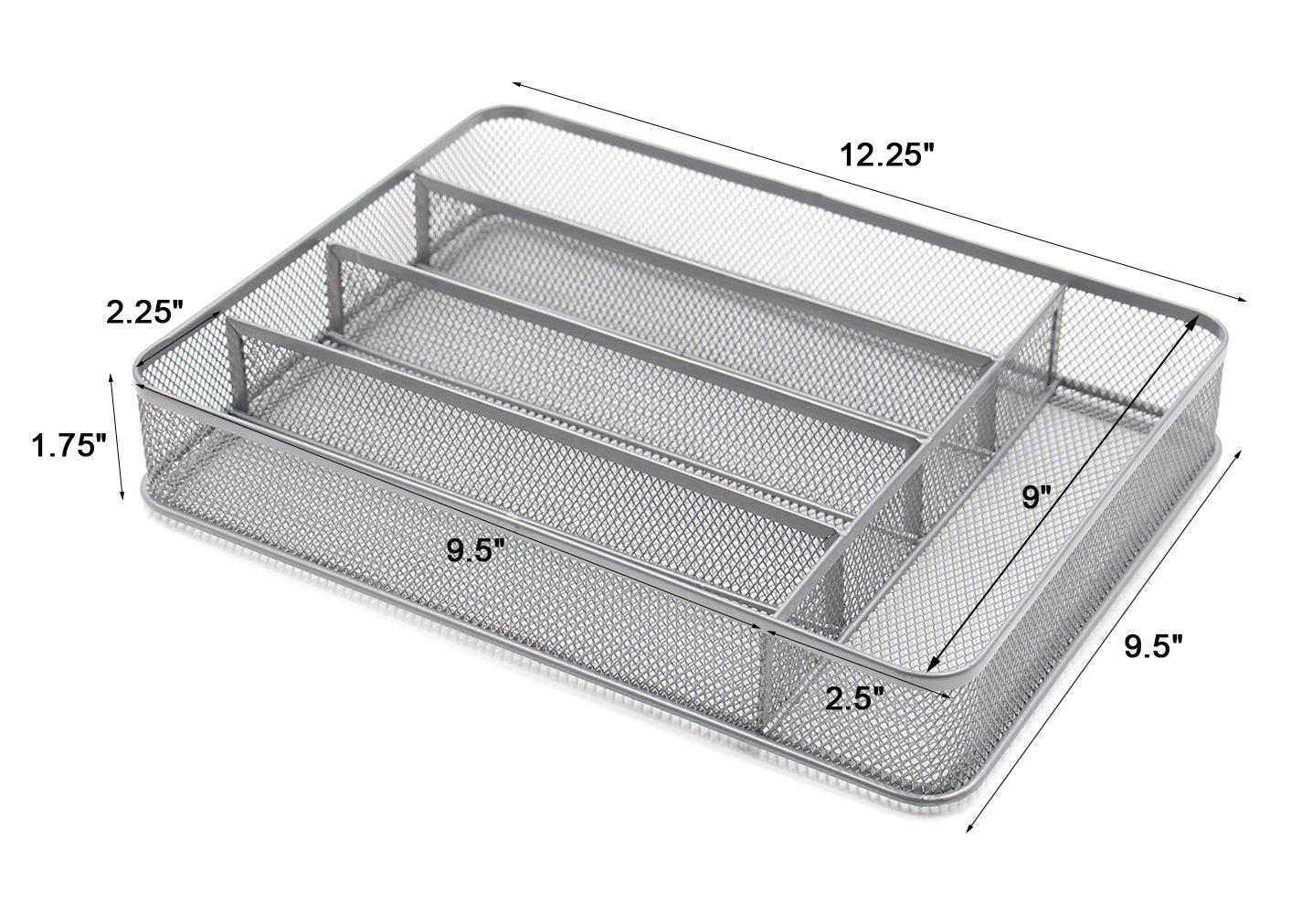 ESYLIFE 5 Compartment Mesh Kitchen Cutlery Trays Silverware Storage Kitchen Utensil Flatware Tray, Silver by Esy-Life (Image #3)