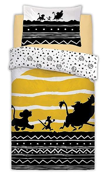 Parure de lit réversible avec Housse de Couette et taie d'oreiller Motif Lion King Disney