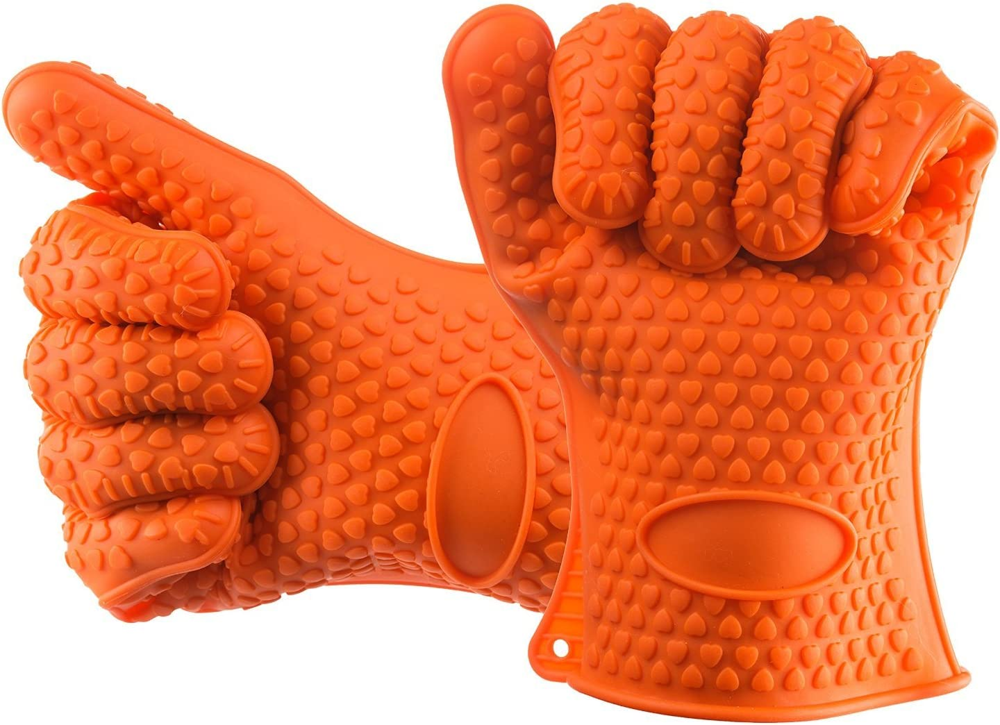 Bcurb Silicone BBQ Grill Oven Mitts Gloves 5 Fingers Glove for Cooking Baking Potholder Boiling Barbecue Grilling Microwave Heat Resistant and Protection (Orange - 2 Glove)
