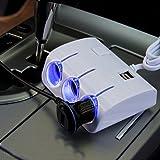 Aipig カーチャージャー 車載 充電器 3連シガーソケット USB 2ポート搭載 スマートフォン iphone Android 充電可能 合計消費電力 120W 電源ボタンあり Car USB Charger 車 カー用品 ホワイト
