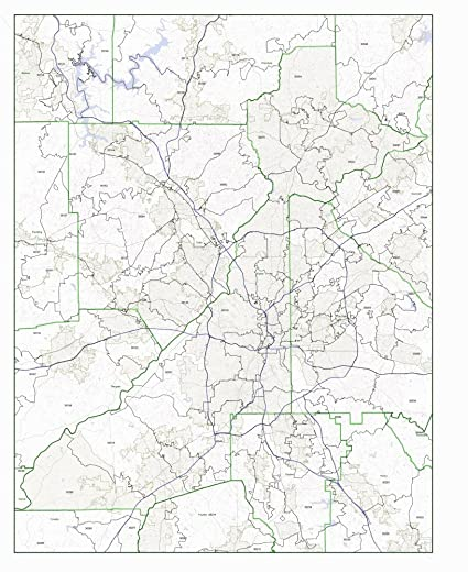 Amazon Com Fulton County Georgia Ga Zip Code Map Not Laminated