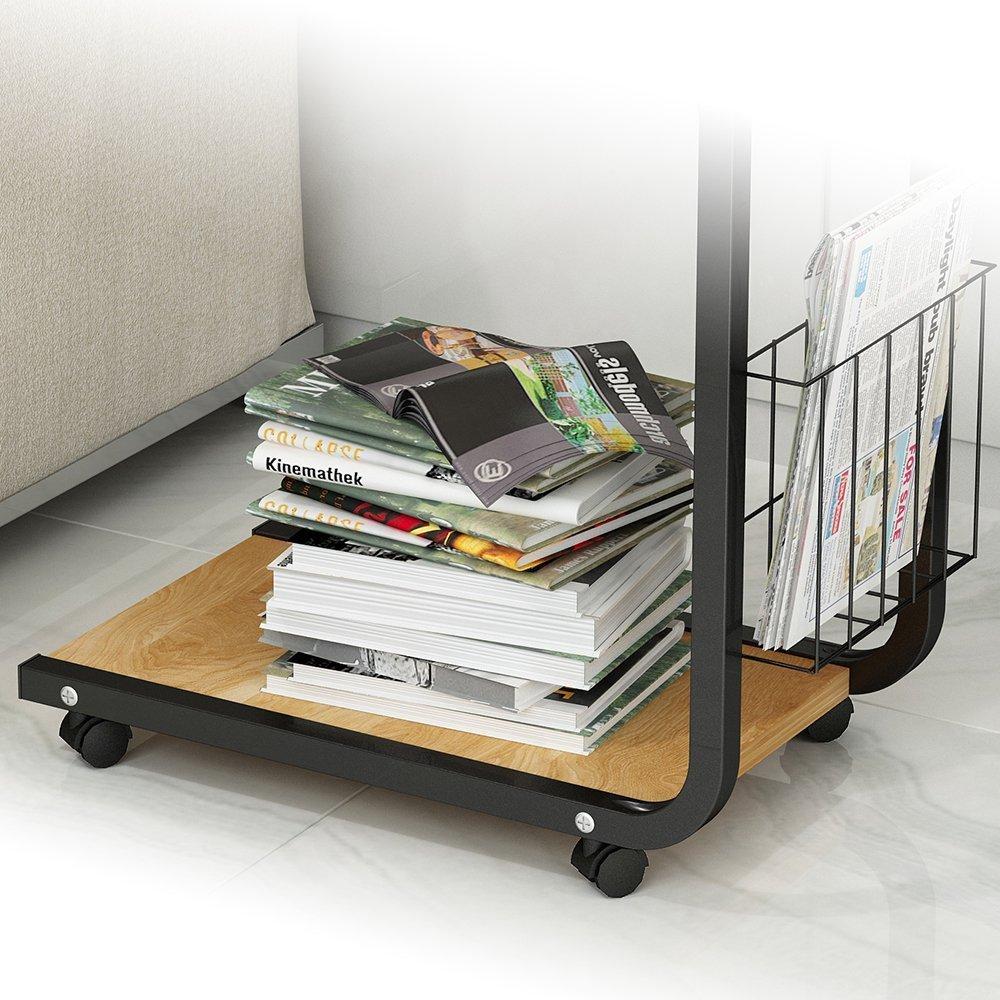 Schwarz KH02-OK-M Gr/ö/ße 51 x 30 x 56 cm soges Laptoptisch Beistelltisch Pflegetisch PC Notebook Tisch Laptopst/änder Notebookst/änder mit Rollen und Ablagefl/äche f/ür Bett und Sofa