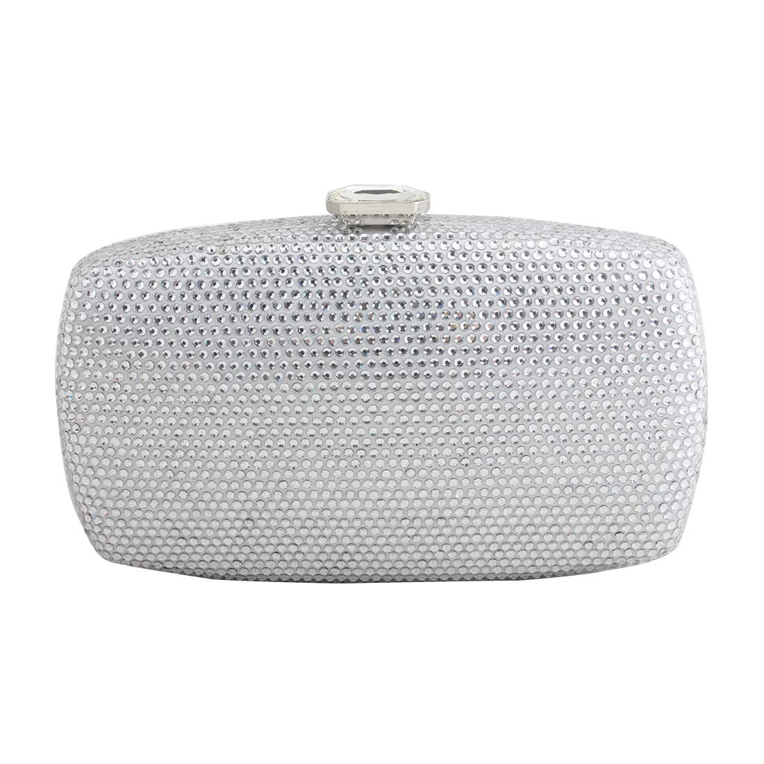LETODE Sparkling Crystal Evening Clutches Women Handbags Wedding Clutch Bag For Dance Party Purse (SILVER)