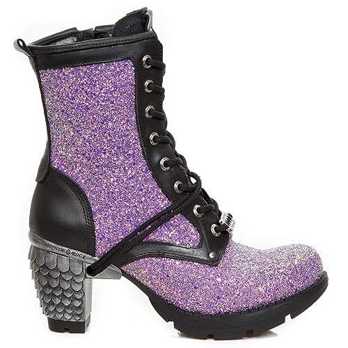 New Rock M.TR037B-S4 Mujer Chica Botines Negro Morado Lila Cuero Tacón Cordones Cremallera Elegant Gótico Rock Urban: Amazon.es: Zapatos y complementos