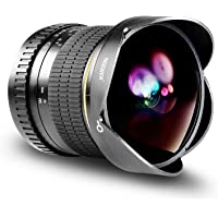 Neewer 8mm f/3.5-22 Manual Focus Aspherical HD Fisheye Lens with Protective Lens Cap, Removable Tulip Lens Hood and Carrying Bag for Canon DSLR Cameras