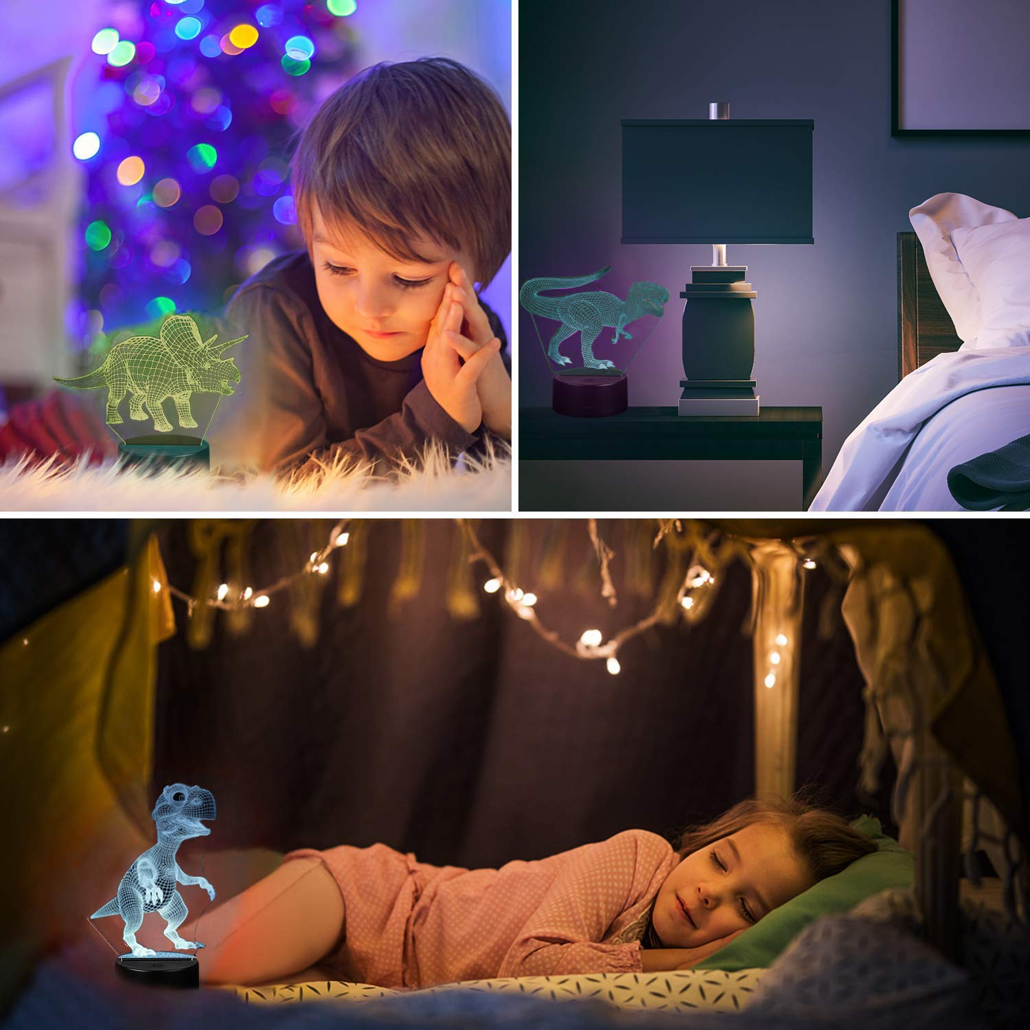 3D Night Light, Night Lights for Kids 3 in 1 3D Dinosaur Illusion Night Lamp Bedside Lamp 3 Colors, 3D Night Light for Kids Best Birthday Gifts for Kids Girls Boys Baby