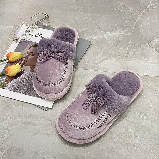 XXZZ Invierno de algodón Zapatillas para la Mujer, Cubierta en ...