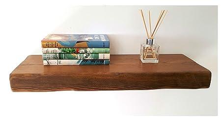 floating shelves reclaimed solid wood rustic wall shelf in walnut rh amazon co uk Reclaimed Wood On Corner Fireplace Driftwood Living Room Decor