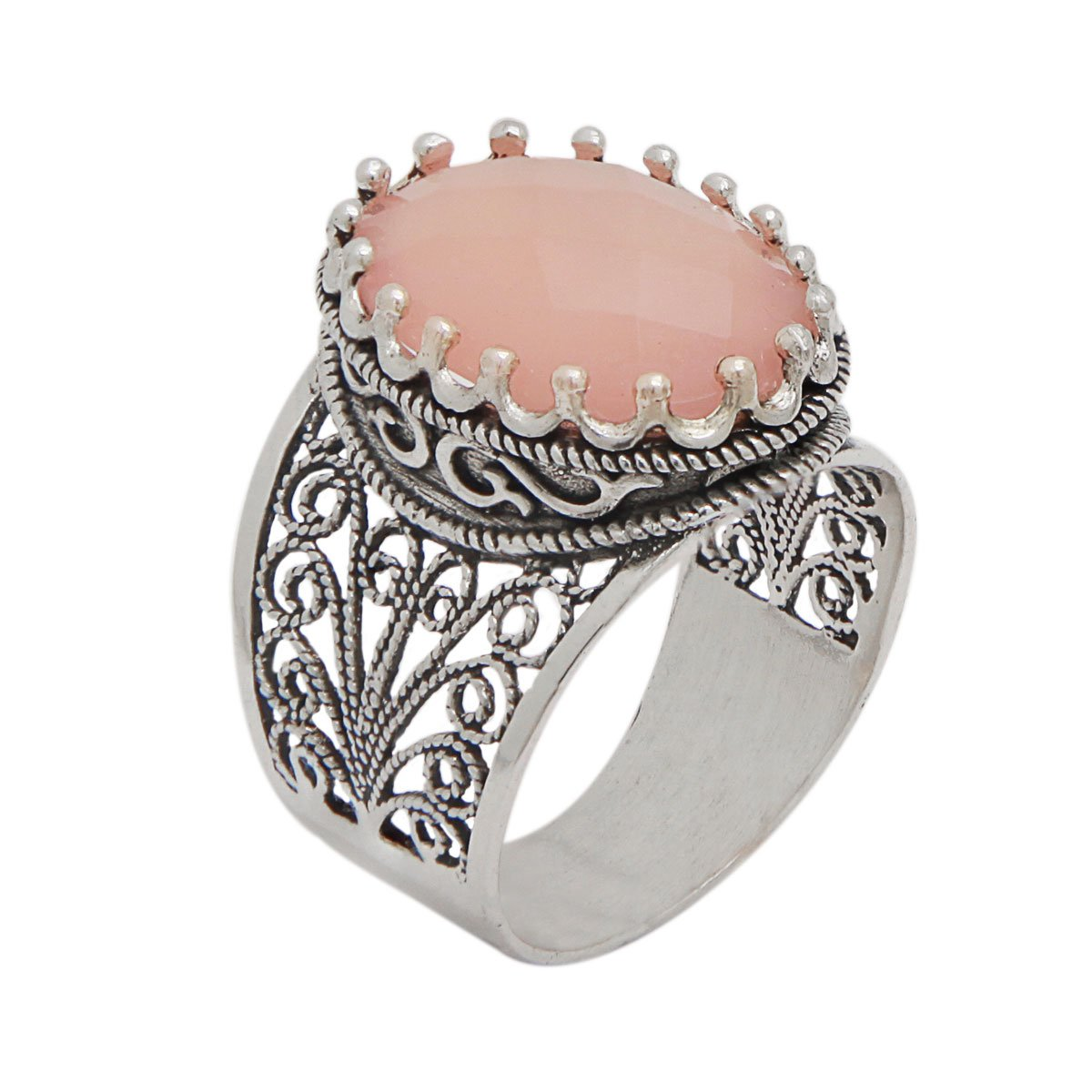 925 Sterling Silver Pink Agate Oval Filigree Ring (Size 6 - 11) (9) by Ottoman Silver Collection