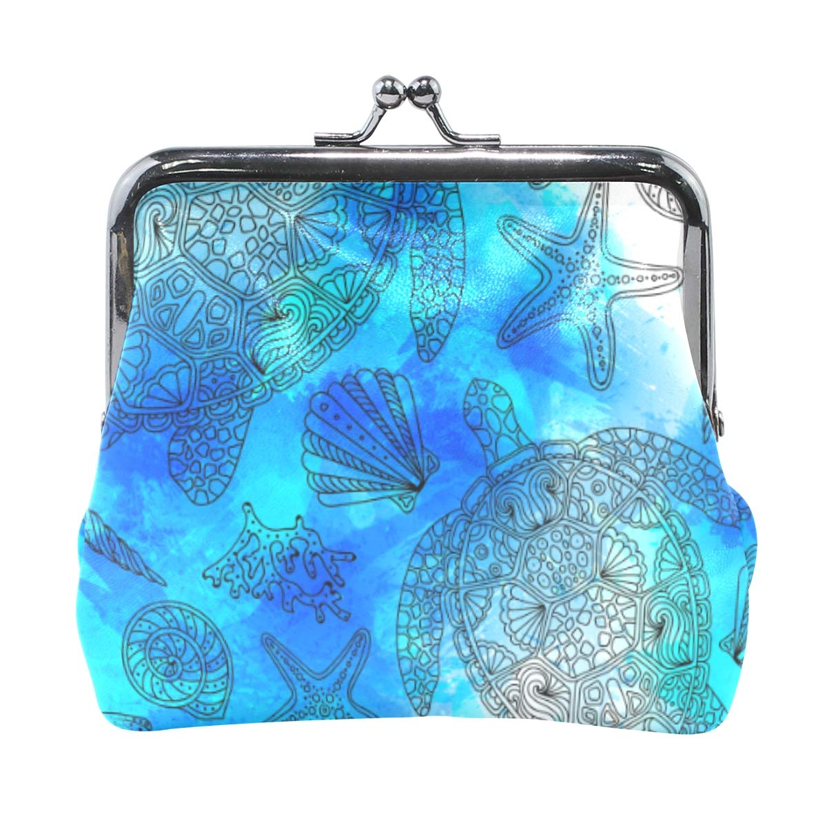 WIHVE Fashion Womens Coin Purse Watercolor Sea Turtle Shell Algae Starfish Coral Blue And Turquoise Vintage Pouch Mini Purse Wallets
