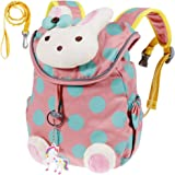 Lictin Kids Backpack Anti-lost Backpack Cute Bunny Backpack Cartoon Bag Rabbit Animals Kids Backpack Baby Girls School Bag for Book with Fairy Tale Unicorn Key Chain