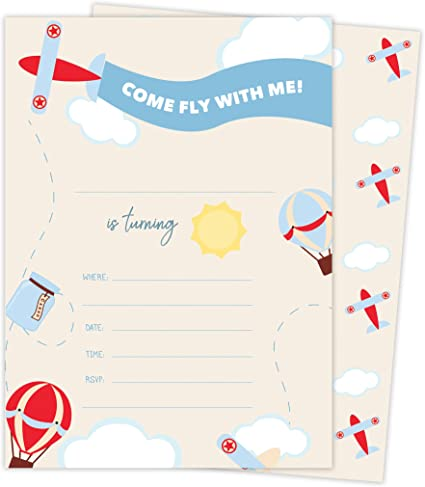 Amazon.com: Avión Happy tarjetas de invitaciones de ...
