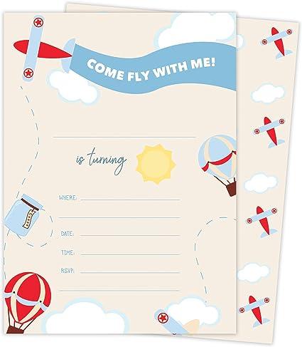 Amazon.com: Avión Happy tarjetas de invitaciones de ...