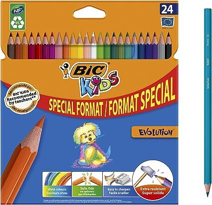 BIC Kids 9375161 Evolution Ecolutions Pack de 24 lápices de color: Amazon.es: Oficina y papelería