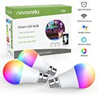 Novostella B22 RGB Alexa Light Bulbs, LED WiFi Smart Bulb Work with Google Home, IFTTT, Dimmable Timing RGBCW Tunable White (2700-6500K), 7W 600lm, Remote Controlled, 3 Pack (No Hub Required)