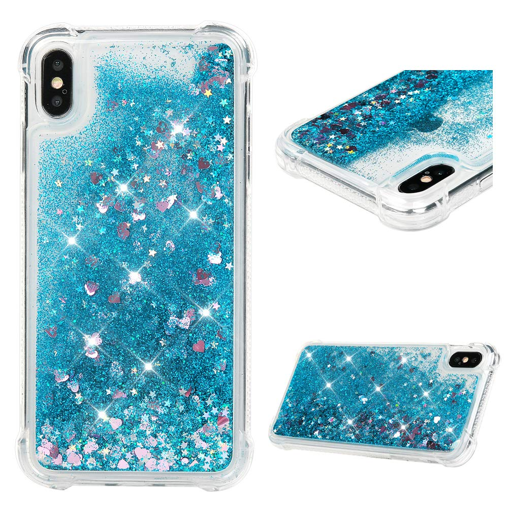 big sale 546e8 be24a iPhone Xs Max Case, Clear Liquid Glitter Case Bling Shiny Sparkle Flowing  Moving Love Hearts Crystal Cover Ultral Slim Protective TPU Bumper ...