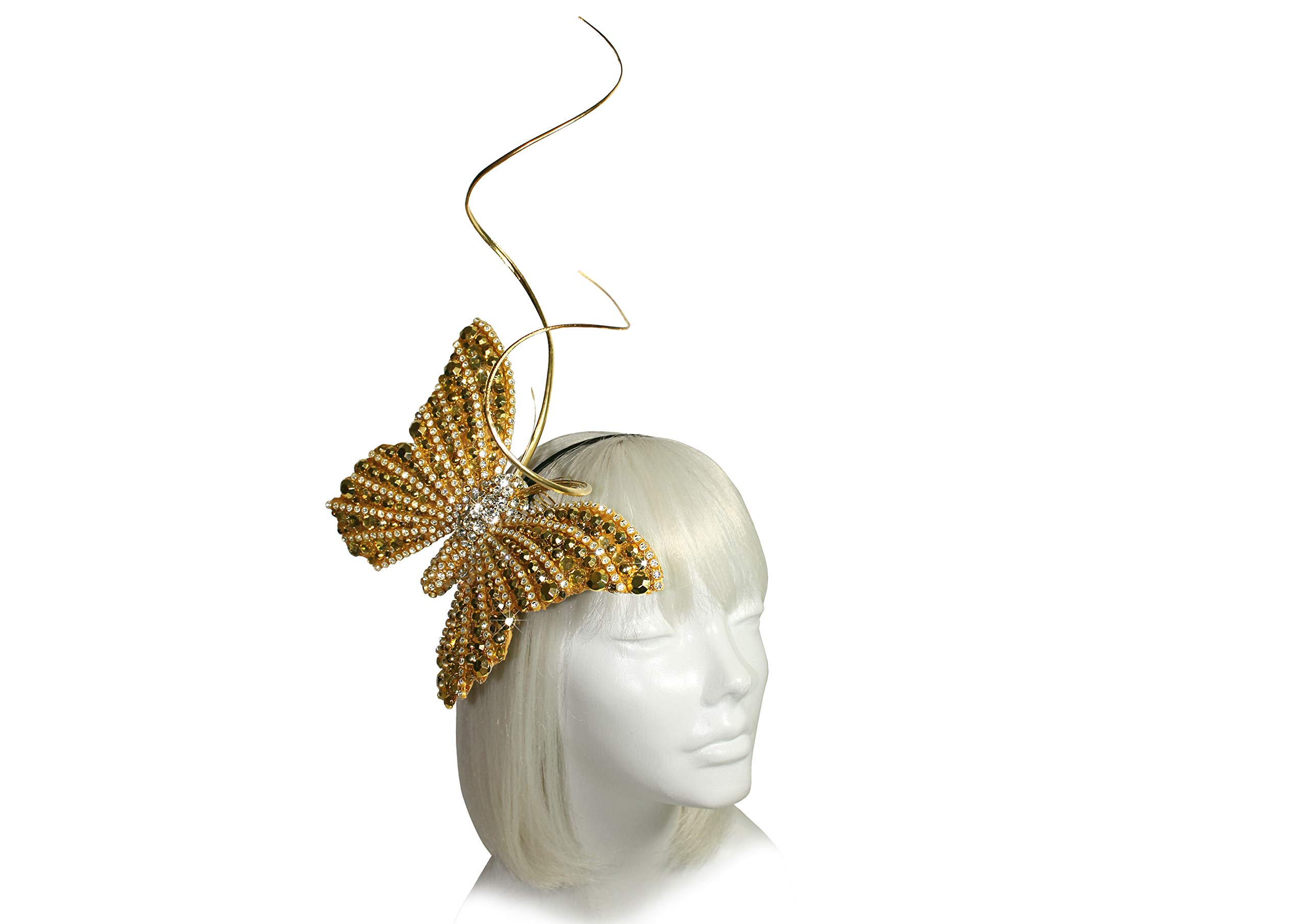 Mr. Song Millinery Papillon Profile Fascinator Headband AF59 (Gold - 2)