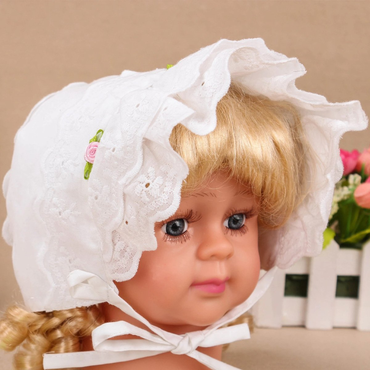Slowera Cap Baby Girls 100% Cotton Double Brimmed Eyelet Lace Bonnet with Flowers (0-3 Months, White) by Slowera (Image #4)