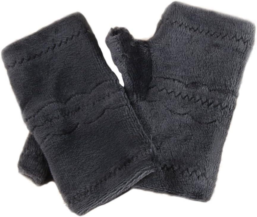 Unisex Plain Knit Fingerless Gloves,Crytech Soft Stretch Autumn Winter Warm Knit Half Finger Mitten Half-Finger Keyboard Gloves Hand Warmer Mittens for Typing Writing Work Fits Women Men