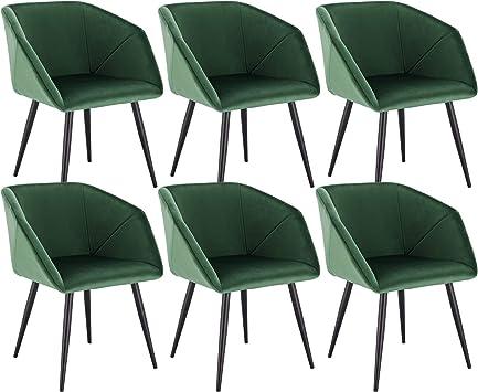 EUGAD 0293BY 6 6X Esszimmerstühle Wohnzimmerstuhl Polsterstuhl mit Armlehne Küchenstuhl mit Metallbeine, Retro Design, Samt, Dunkelgrün