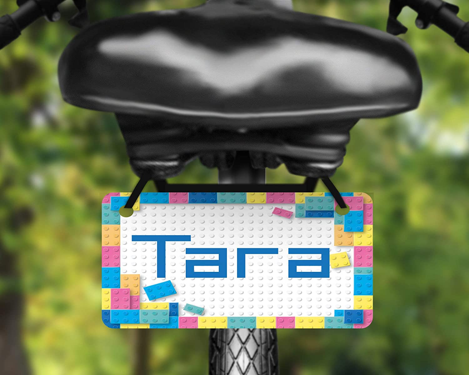 personalize with a name Cute building blocks design bicycle plate
