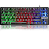 FELiCON® K16 Wired 87keys Gaming Keyboard Rainbow Backlit LED Light Waterproof Ergonomic USB 19keys Anti ghosting Gaming Keyboard for Office, Typists and Gaming(K16-Black-87Keys)