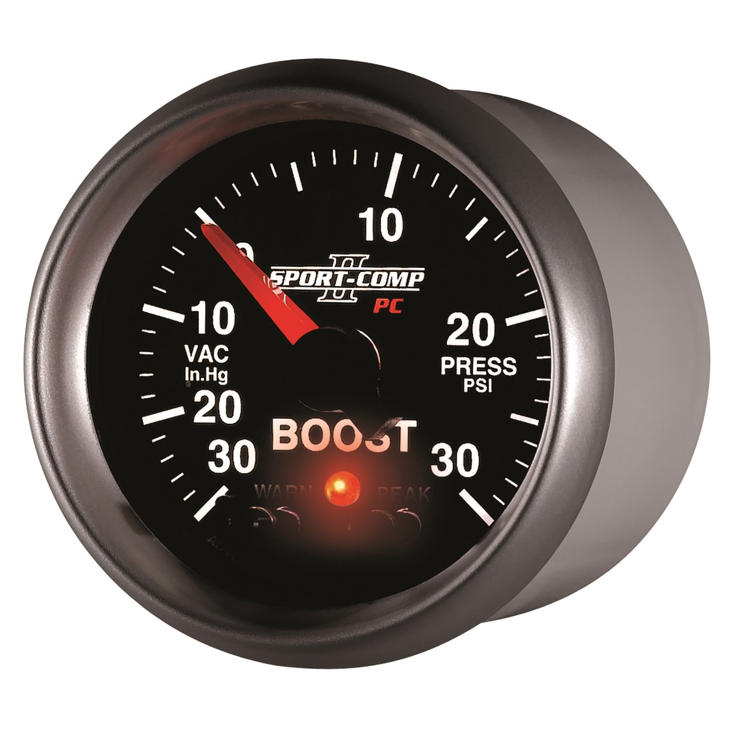 Auto Meter 3677 Sport-Comp II PC 2-1/16'' 30 in. Hg/30 PSI Full Sweep Electric Vacuum/Boost Gauge Peak and Warn with Electronic Control