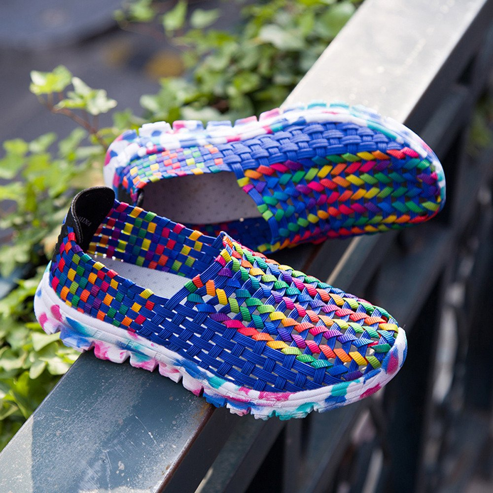 f37b9a878b80 ... Overmal Sneakers Clearance Women Woven Flats Flats Flats Breathable  Shallow Mouth Lazy Slip Resistant Comfort Shoes ...