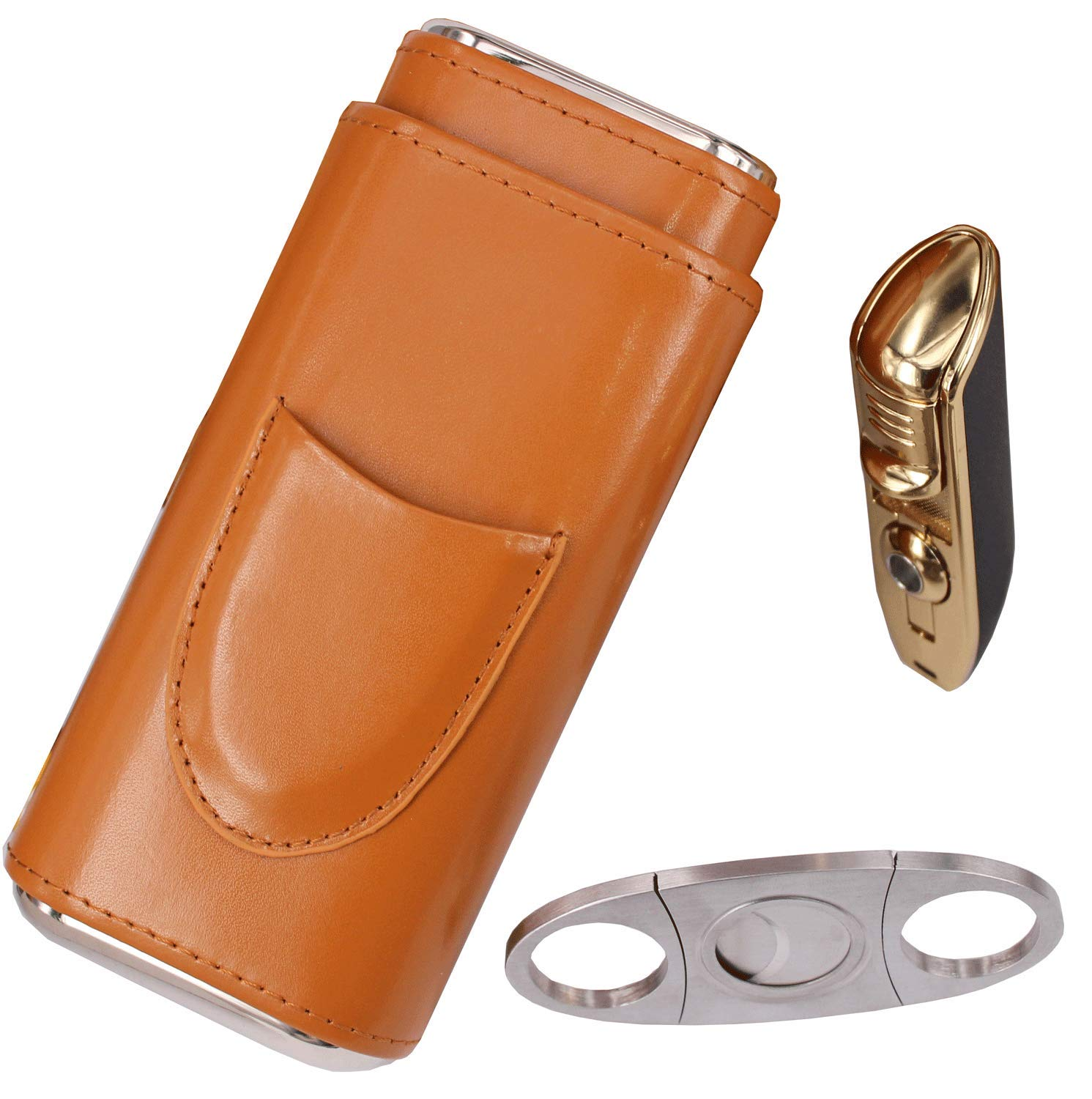 AMANCY Classy Cigar Case with Lighter and Cutter Great Gift Set