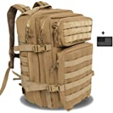 Z ZTDM 40L Outdoor Tan Tactical Backpack Molle Army Military Rucksacks With US Frag 3 Day Assault Pack for Camping Hiking Trekking fishing 900D Waterproof