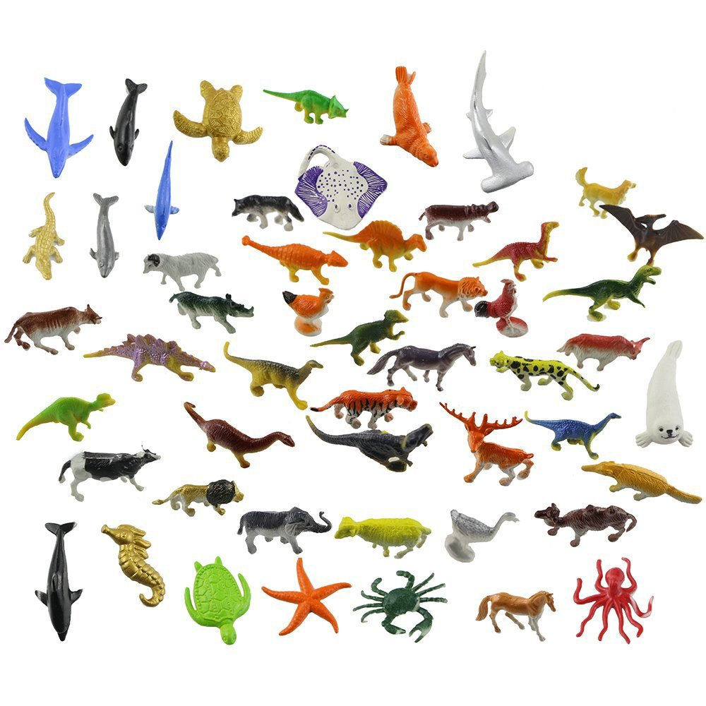 Acmer 60 PCS different Mini Jungle Animals Toys Set,Realistic Wild Vinyl Pastic Animal Learning Party Favors Toys For Boys Girls Kids Toddlers Forest Small Animals Toys