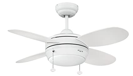 Litex E MLV36MWW4LK1 Maksim Collection 36 Inch Ceiling Fan With Four Matte  White Blades