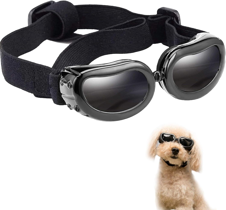 MEEQIAO Gafas de Sol para Perros, Gafas para Perros Pequeños con Esponja Suave en el Marco, Impermeable Ajustables Protector Ocular, Protección UV Antivaho (Black) (Negro)