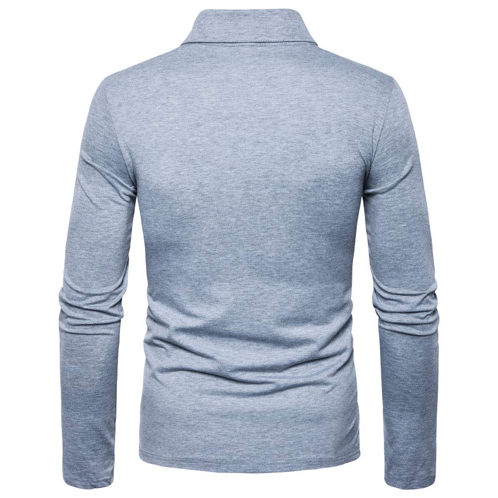 Mens Classic Contrast Color T-Shirt Long Sleeve Polo