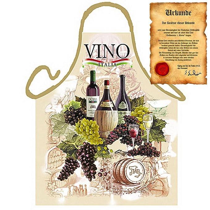 Delantal con certificado – Italiano Vino – divertido diseño Delantal como regalo para barbacoa Fans con