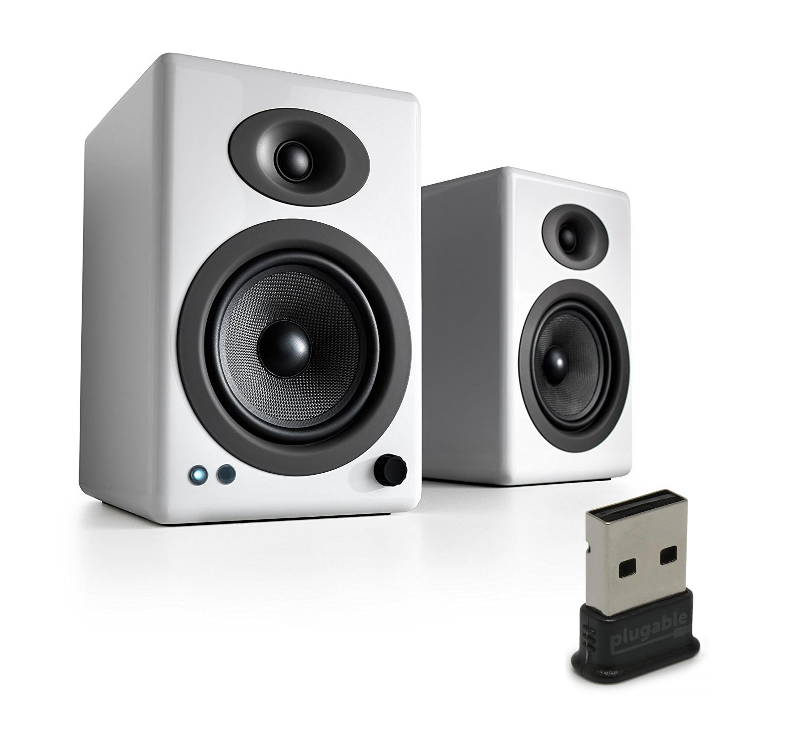 Audioengine A5+ Wireless Speakers (Pair) with Plugable USB 2.0 Bluetooth Adapter - White