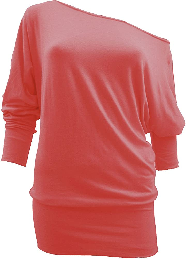 Camiseta de hombro caído de manga 3/4 para mujer, estilo suelto, varias tallas Negro coral S/M(36-38): Amazon.es: Ropa y accesorios