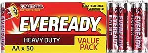 Energizer EVEREADY Heavy Duty, Carbon Zinc, Value AA Batteries 50 Pack, (E30101770)