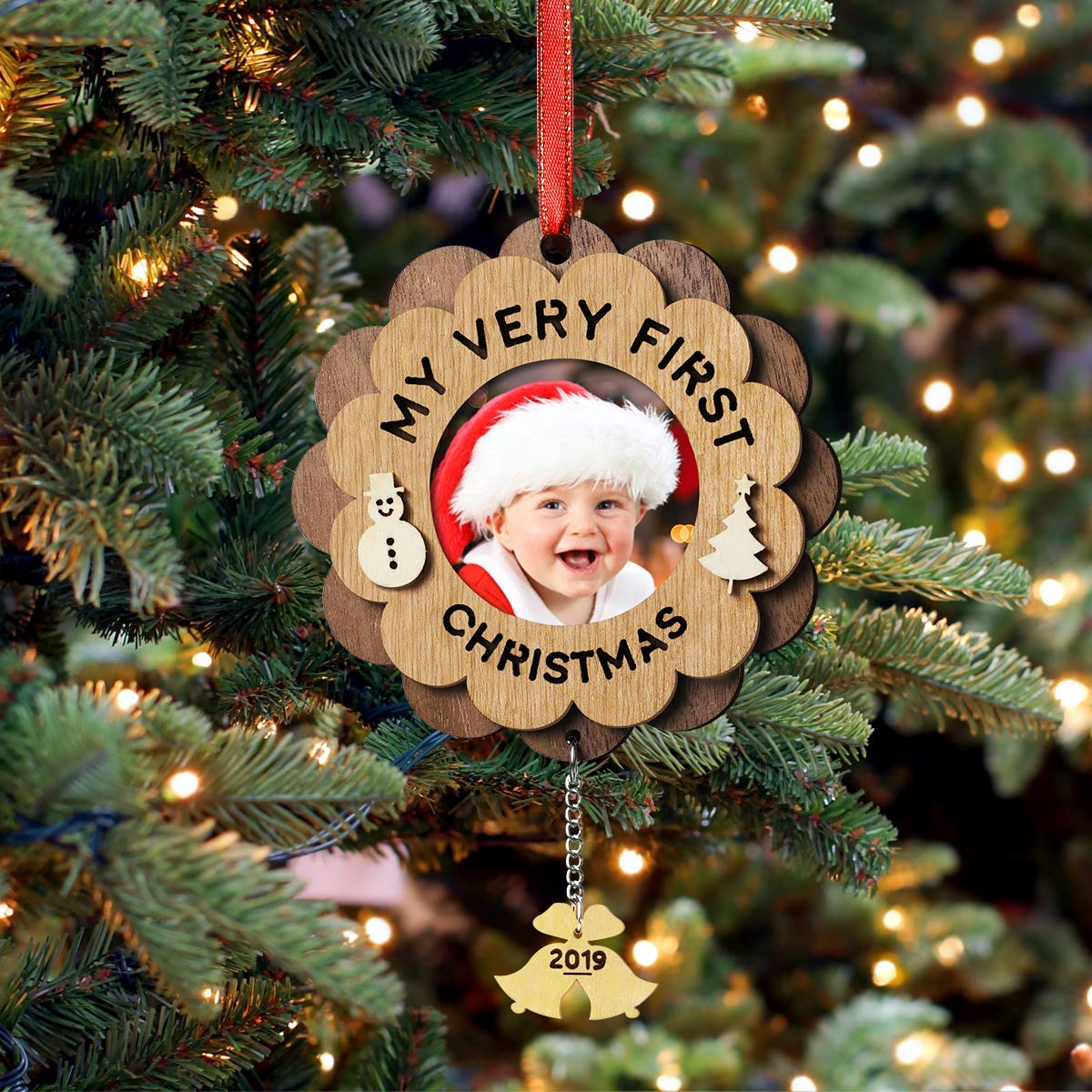 "wooden ""my very first christmas"" photo ornament"