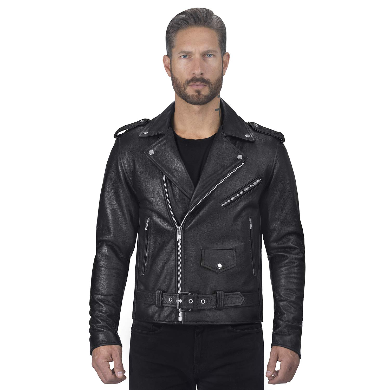 Viking Cycle Angel Fire Premium Grade Cowhide Leather Motorcycle Jacket for Men (X-Small) Black by Viking Cycle