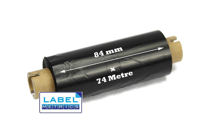 Label Metrics - Zebra GK420t 84mm x 74m Black Thermal Transfer Ribbons Wax Grade - Boî te de 6