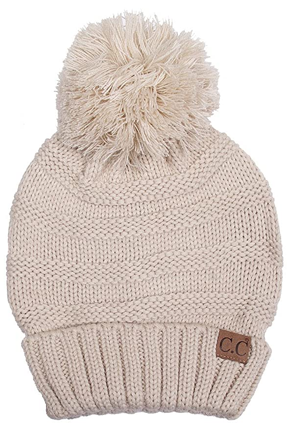 d44bfe09419757 ScarvesMe Exclusive CC Oversize Cable Knit Hat with Pom Pom (Beige) at  Amazon Women's Clothing store: